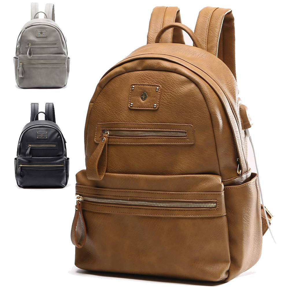 Leather Backpack Womens School Charger