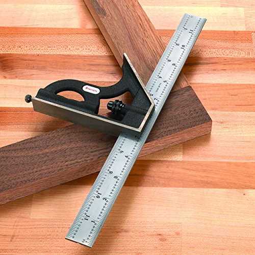 """Starrett Combination Square, C11H-12-4R - Pre Cutting and Drilling Measuring Tool for Right Angles and Center with Heavy Duty Square Head, 12"""" for Woodworking, Carpentry, Machinists"""