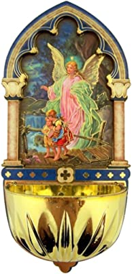 Religious Gifts Guardian Angel Gold Embossed Laser Cut Wood Multi-Dimensional Holy Water Font, 5 Inch