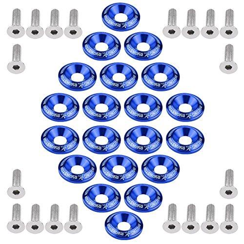 20 piezas kit de tornillos de aluminio, tornillos para parachoques, Juego de pernos de la lavadora del parachoques del motor(Azul)