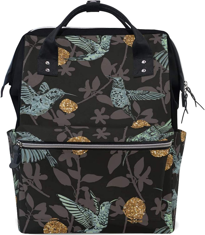 FAJRO Birds and Floral Black BackgroundTravel Backpack Canvas Handbag School Pack
