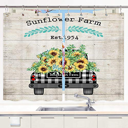DYNH Farm Truck Sunflowers Kitchen Curtain, Vintage Farmhouse Buffalo Plaid Truck Pull Sunflowers Window Curtain Valance for Kitchen Small Cafe Curtains for Window Treatment Set with Hooks, 55X39 in