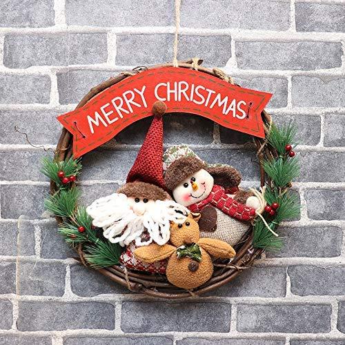 Corona de puerta delantera, corona de Navidad, anillo de vid de Navidad, colgante para puerta, hombre mayor, muñeco de nieve, ciervo, adorno navideño, colgante, corona (tres figuras B, 36 36 cm)