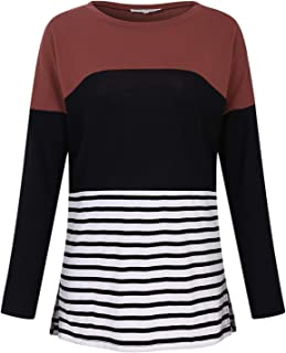 SHANUOINT Women Long Sleeve Shirt Blouse with Striped Split Hem Color Block Tunic Top