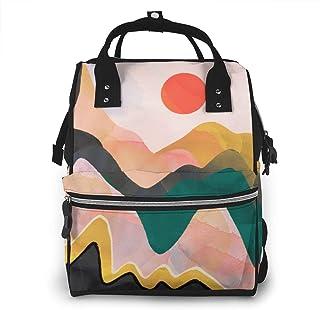 Luiertas Rugzak, JOJOshop hand getekend kleurrijke bergen en rode zon grote multifunctionele Travel Back Pack, grote capac...
