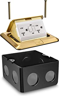 Aweking Pop up Electrical Floor Outlet, Power Box, 20 Amp 125V GFCI Outlet,UL Listed,Stainless Steel Junction Boxe, Brass Cover,Square