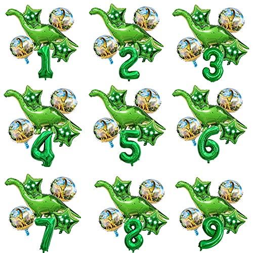 ENHONGDZ 6 unids/Globos de Hojas Verdes Globos de Dinosaurios de niño con Bolas de números Jurásico Fiesta de cumpleaños Mundial (Color : 1, Shape : A)