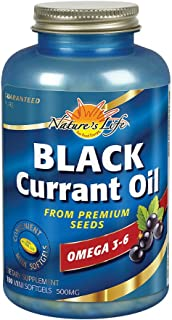 Nature's Life Black Currant Oil Minis 500mg | With Omega 3-6 for Skin, Hair, Heart and Joint Health | 180ct, 180 Serv.