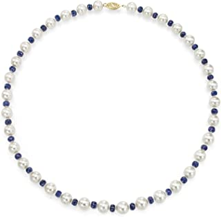 14K Gold Freshwater Cultured White Pearl Necklace Simulated Gemstone Jewelry for Women 18 inch