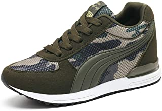 XXHC Women's Camouflage Mesh High-Heeled Sneakers Army Green Height Increase Shoes