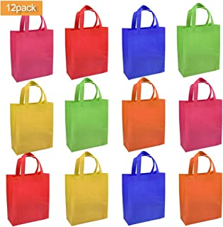 YANSHON 12 Pack Party Favor Tote Gift Bags with Handles, Non-Woven Material, Assorted Colorful Blank Canvas Bags,9.8 x 10.8 x 3.9'' Rainbow Colors