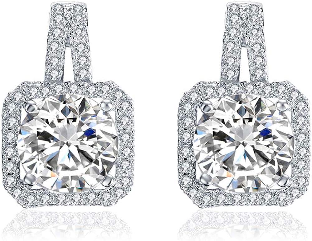 Czjewelry Cute Square Stud Earrings for Girls Women Dazzling Clear Crystal Cubic Zirconia Jewelry Geometric Shape Gift