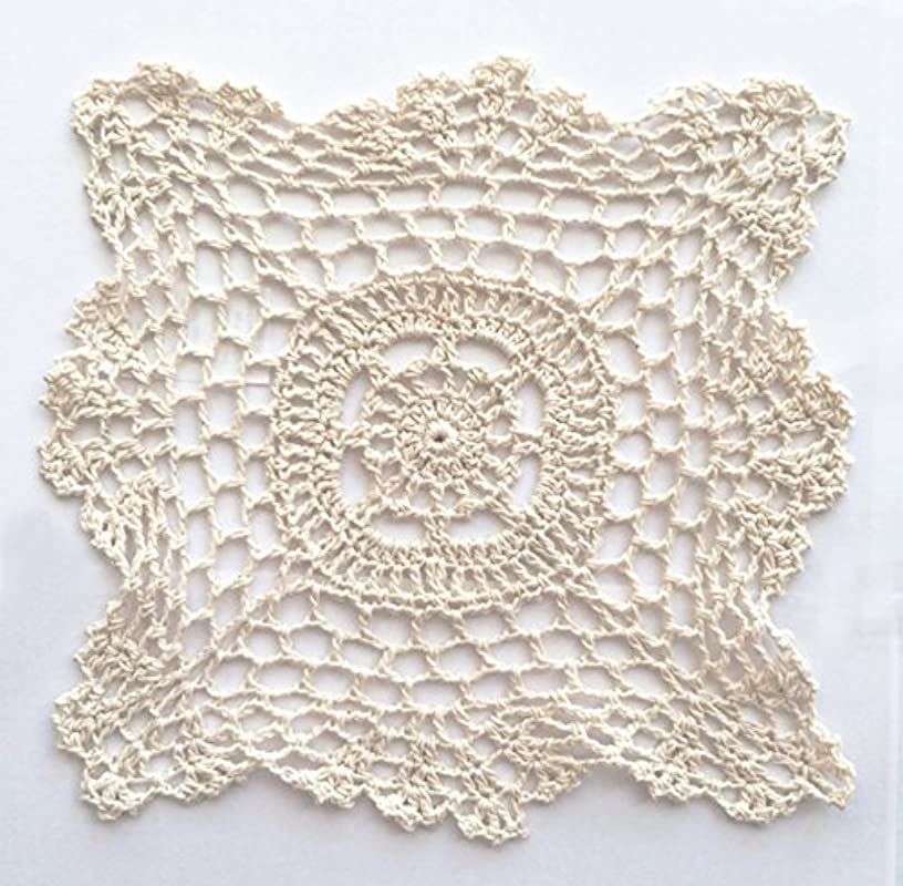 Fennco Styles Handmade Crochet Lace Cotton Doilies 8 Inch Square 4 Pack Beige