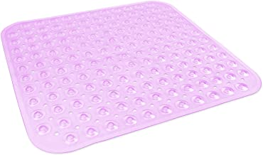 DII Anti-Slip Non Slip Allergen-Free Square Mildew Resistent Pebble Vinyl Shower, Bathtub Mat 20.75x21.75 with Safety Grip...