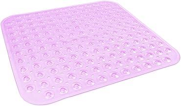 DII Anti-Slip Non Slip Allergen-Free Square Mildew Resistent Pebble Vinyl Shower, Bathtub Mat 20.75x21.75 with Safety Grip...