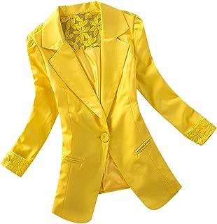 Hunauoo Womens Blazer Jacket Casual Ladies Long Sleeve Lace Short Coat Slim Office Casual Jackets
