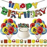 65 PCS Super Mario Party Supplies Super, Hilloly Mario Globos Super Mario Cumpleaños Pancartas Decoración para Fiestas Adorno de Torta para Niños Ducha de Bebé Fiesta de Cumpleaños