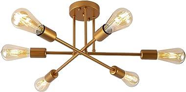 Araña Sputnik Moderno Techo de Accesorios de Iluminación de Oro Lámpara Colgante 6 Luces para Cocina Granja Dormitorio Comedo