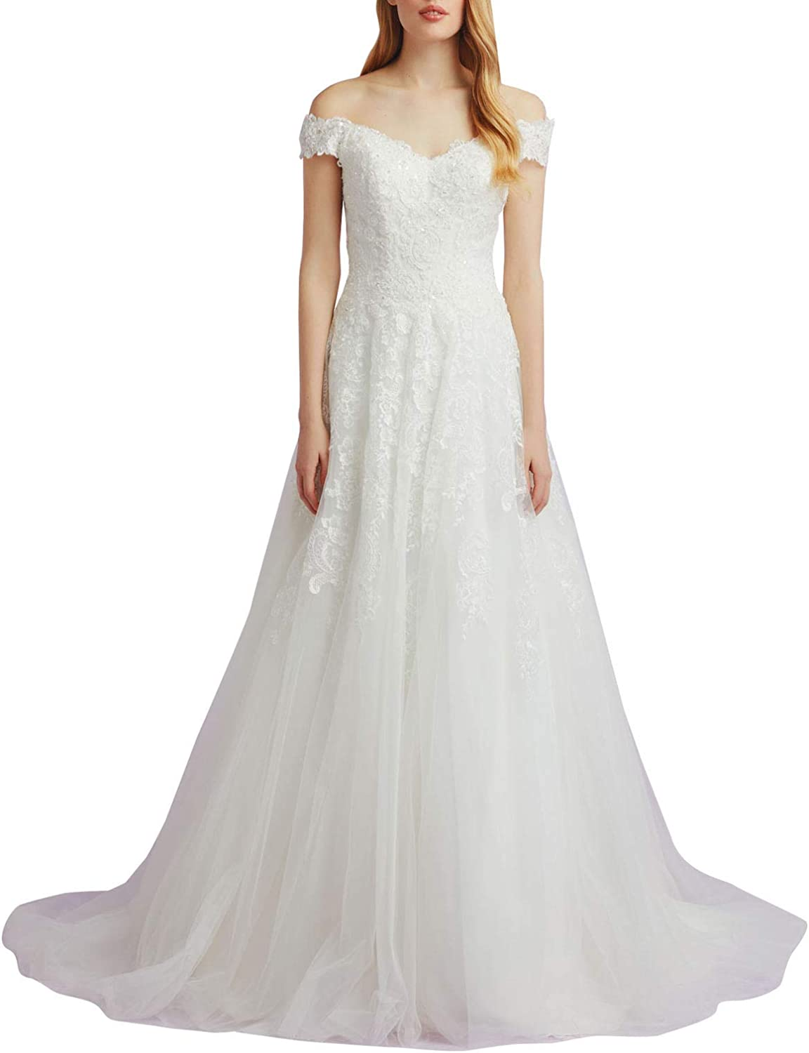 Aishanglina Women's Sweetheart Scalloped VNeck Lace Wedding Dresses Bridal Gowns