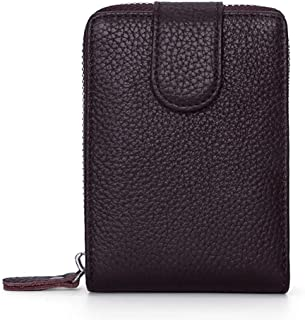 Leather Driver's License Leather Case Leather Card Holder Zipper Wallet Multi-Function Driving License (Color : Brown, Size : S)