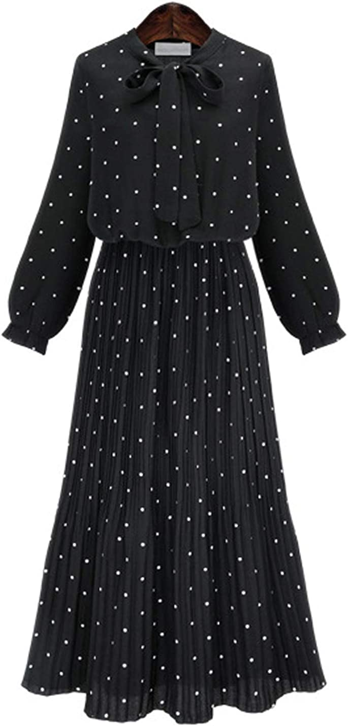 D.B.M Women's Elegant Slim Stretch Waist Polka Dot Printed Long Chiffon Dress