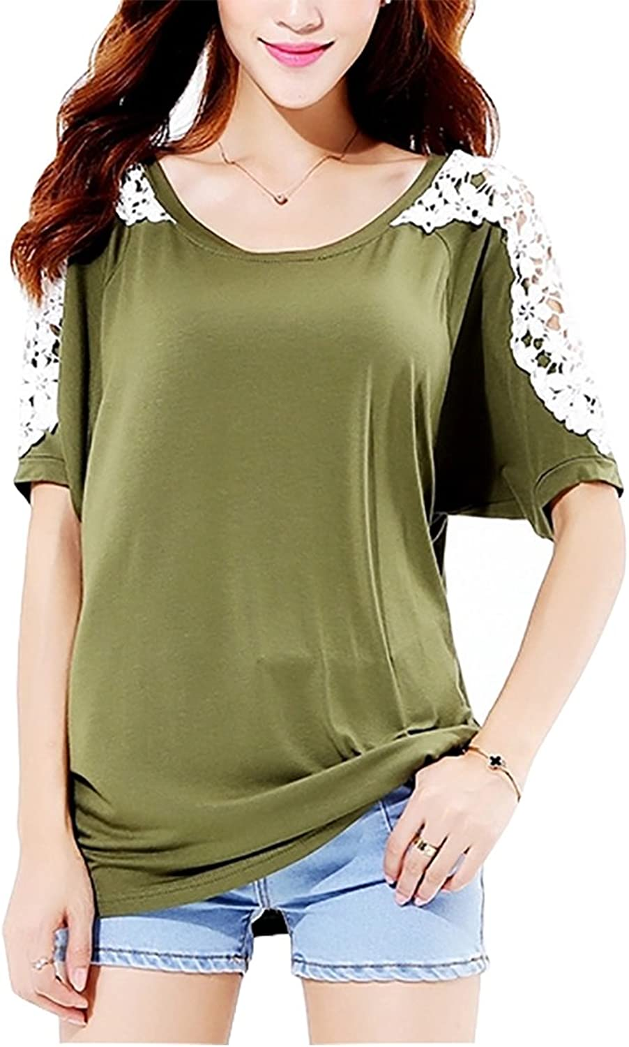 Demetory Womens Summer Short Sleeve TShirts Scoop Neck Lace Basic Tee Tops