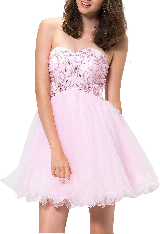 LISA.MOON Women's Sweetheart Backless Rhinestone Tulle Sexy Homecoming Dress