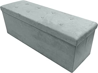 Sorbus Storage Ottoman Bench – Collapsible/Folding Bench Chest with Cover – Perfect Toy and Shoe Chest, Hope Chest, Pouffe Ottoman, Seat, Foot Rest, – Contemporary Faux Suede (Large-Bench, Gray)