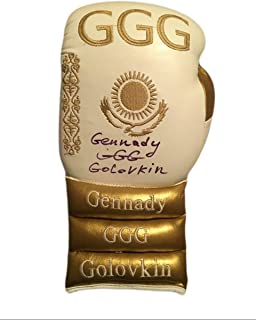 Boxer Gennady Golovkin Autographed Custom Gold Boxing Glove in Black Signature