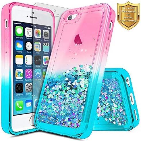 iPhone 5 C coque, iPhone 5 C Coque [protection d'écran en verre trempé], Nagebee Quicksand Chute d'eau liquide flottant Paillettes d'arrosage Sparkle ...