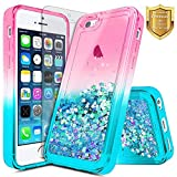 iPhone 5C Case with Screen Protector HD Clear for Girls Kids Women, NageBee Glitter Liquid Quicksand Waterfall Floating Flowing Sparkle Shiny Bling Diamond Cute Case for iPhone 5C -Pink/Aqua