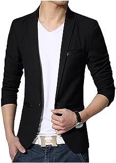 Botong Black Slim Fit Mens Blazer One Button Business Suit Jacket Casual