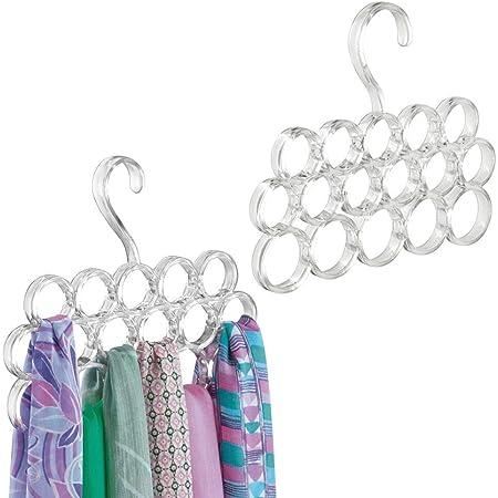 mDesign porte foulard sans fils tirés (lot de 2) – rangement foulard pour écharpes, cravates, ceintures – cintre foulard avec 16 anneaux – transparent