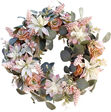 """HEBE 16"""" Artificial Succulent Wreath Arrangement for Front Door Succulents Wreaths with Greenery Eucalyptus for Indoor Outdoor All Seasons"""