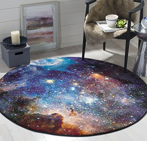 Safavieh Galaxy Collection GAL109P Abstract Area Rug, 5' 3' Round, Purple/Multi
