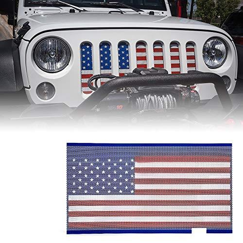 L&U Originale Front Hood Matte Grill Griglia Griglia Bandiera Americana Inserto in Maglia di Acciaio per 2007-2017 Jeep Wrangler JK JKU,BlueandRed