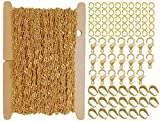ZCNest 32.8 Ft(10m) Gold Flat Twisted Rope Curb Chains for Jewelry Making Set, with Lobster Clasps+Jump Rings+Pinch Bails, Cable Link Craft Chain Findings for Necklace Bracelet DIY Wide 2.2mm_2092-B