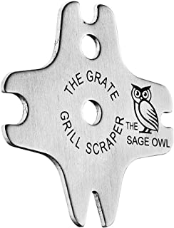 The Sage Owl Heavy Duty Stainless Grill Scraper - Bristle Free Tool for Cleaning Your BBQ Grill