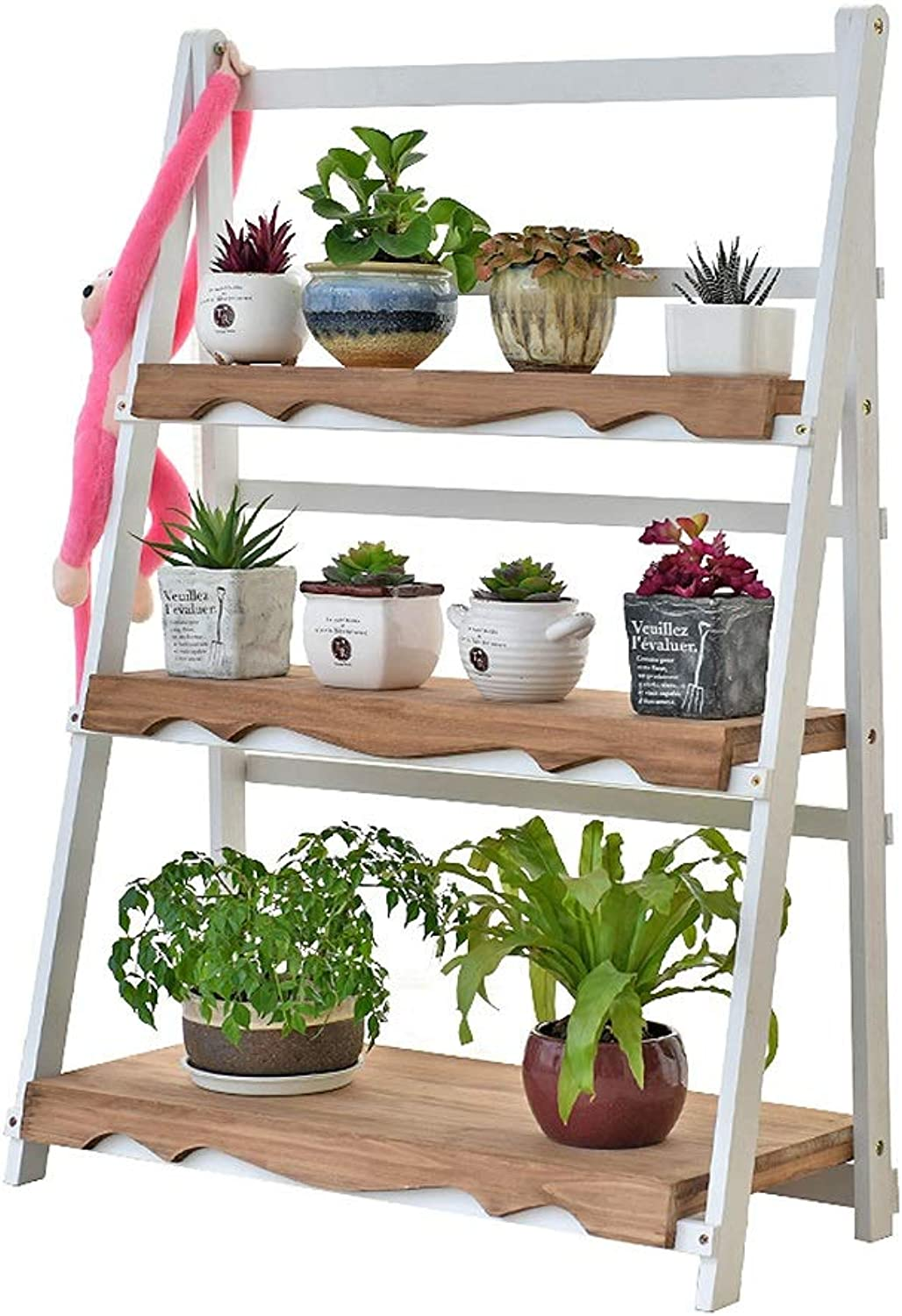 White Solid Wood Plant Stand, Foldable 3 Tier Indoor Tiered Flower Stand, Vintage Balcony Living Room Plant Shelf