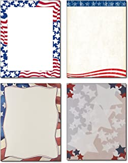 Patriotic Stationery Variety - 4 Designs - 80 Sheets - Great for Memorial Day, Veteran's Day, Independence Day
