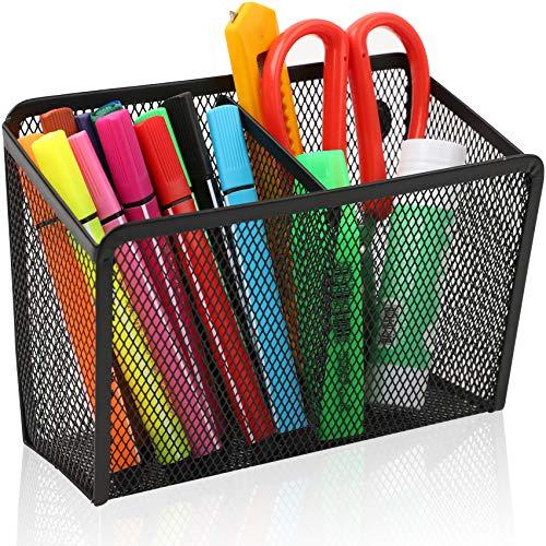 AlexBasic Magnetic Pen Holder Pencil Holder, 2 Compartments Metal Utensil Storage Organizer for Kitchen, Refrigerator, Magnetic Pencil Holder for School Locker Accessories, Whiteboard Organizer