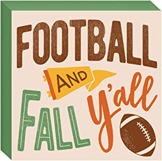 HAPPY DEALS ~ Football and Fall Y'all Tabletop Block Sign - 7.5 x 7.5 inch - Fall and Harvest Decor Sign