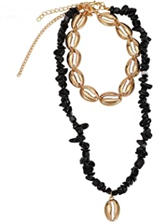 HAPPINESS-STORE Women Statement Necklace Shell Pearl Stone Beaded Chain Necklace Lady Pendant Necklace Accessories
