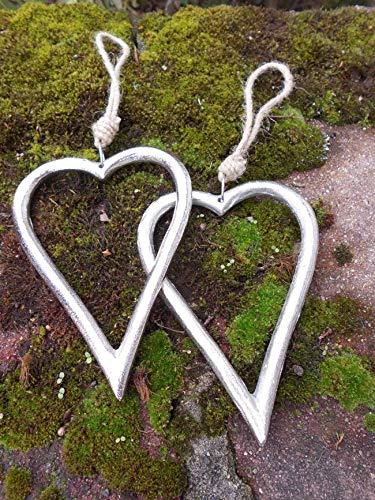 2 große Herzen Deko-Hänger Herzanhänger Alu massiv wunderschön je 16cm