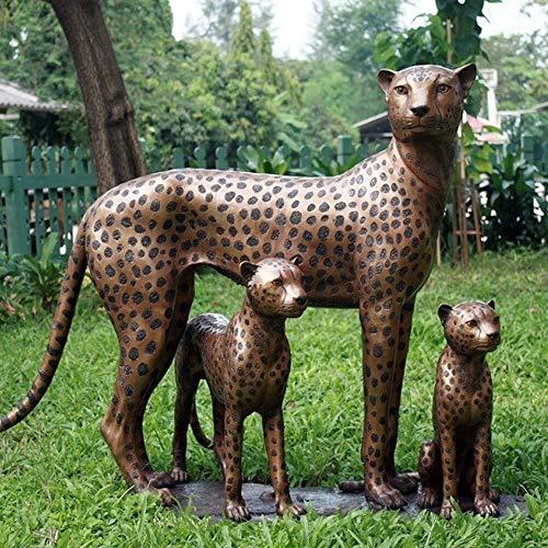 Gartentraum Guepardo Hembra con 2 Cachorros - Figura de Bronce - Familia de guepardos