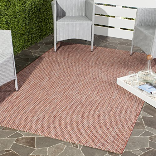 Safavieh Courtyard Collection CY8521 Indoor/ Outdoor Non-Shedding Stain Resistant Patio Backyard Area Rug, 8' x 11', Red / Beige