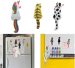 (3 PCS) ONV Refrigerator Magnets Stickers Fridge Magnetic Stickers Cute Cat Unicorn Stickers+hook for Cabinets Notes Calen...