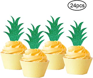 24 Pack Pineapple Donut Topper Luau Tropical Summer Party Cupcake Decor-Aloha Bridal Shower