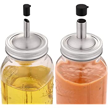 Aozita Mason Jar lids Pour Spout with Caps for olive oil dispenser and Salad Dressing Shaker - 18/8 Stianless Steel Pour lids for Ball and More
