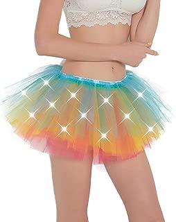 Women Tutu Adult LED Light Up Neon Rainbow Tulle Tutu Skirt